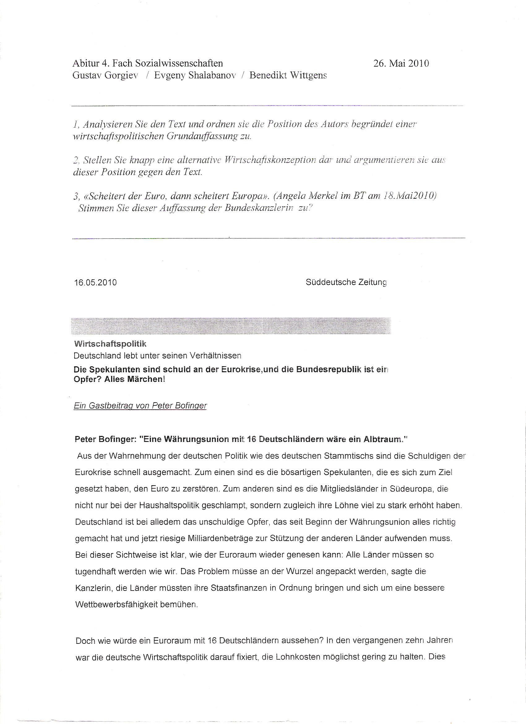 Abitur 2011 Sowi Simulierte Mündliche Prüfung Mskh